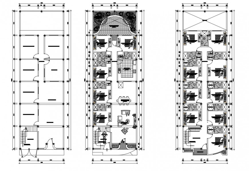 Housing floor plan of hotel in auto cad file
