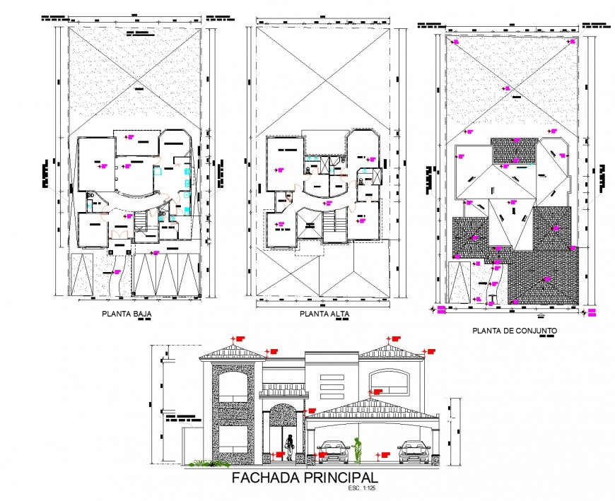 Housing plan and elevation autocad file