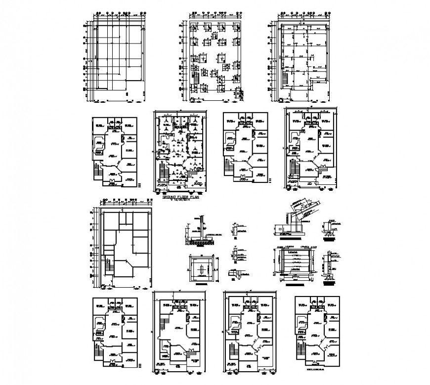 Housing plan and foundations detail 2d view CAD structural block layout autocad file