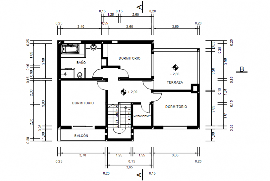 Housing project cad file of first floor plan