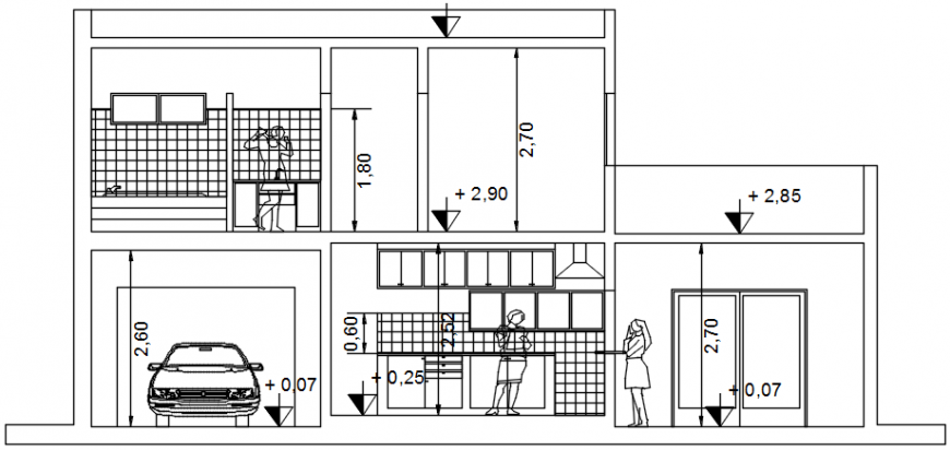 Housing project section B-B cad file