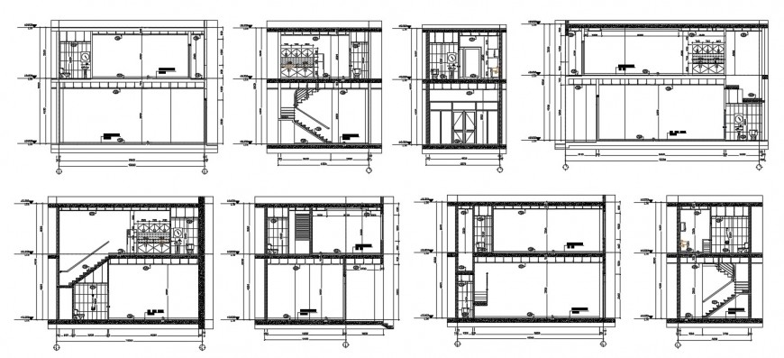 Housing sanitary installation detail section and elevation design