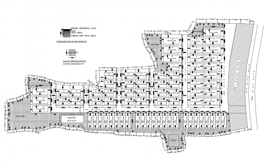 Housing site layout plan and plotting cad drawing details dwg file
