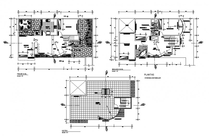 Housing squares first, second floor and cover plan cad drawing details dwg file