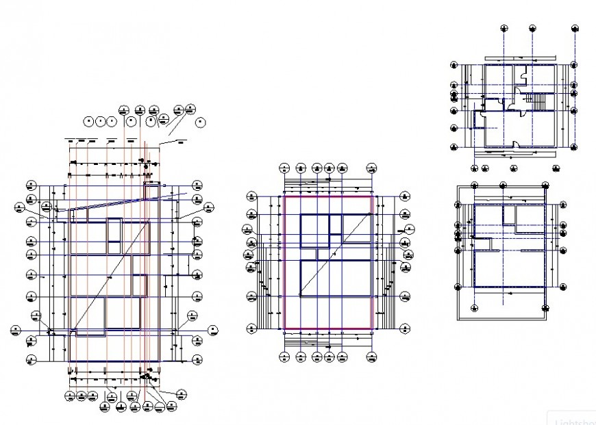 Housing structure detail 2d view CAD construction block layout file in autocad format