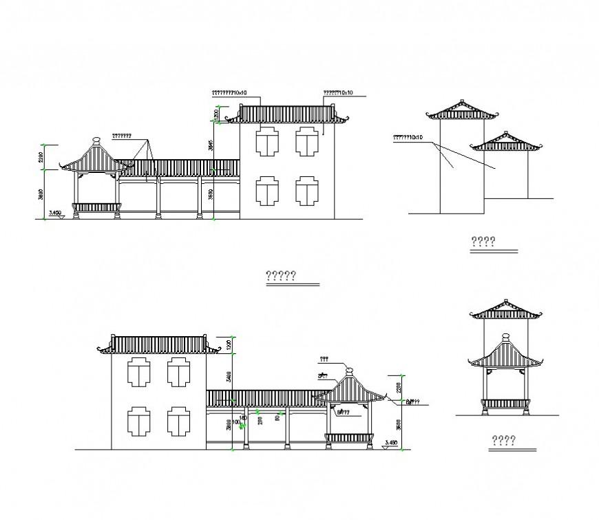 Housing structure detail 2d view CAD constructive block layout dwg file