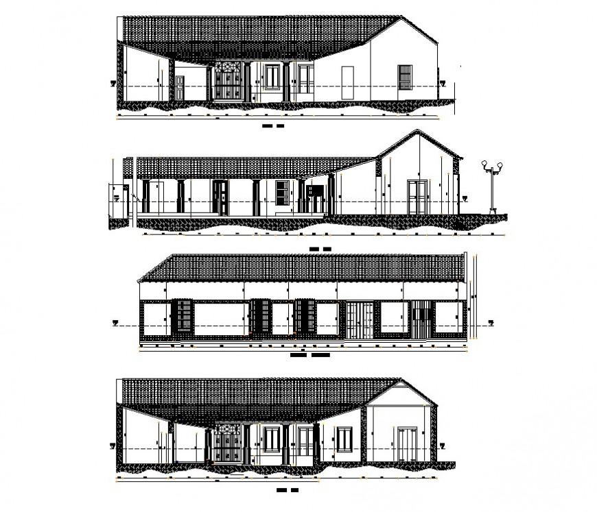 Housing structure detail elevation 2d view CAD constructive block autocad file