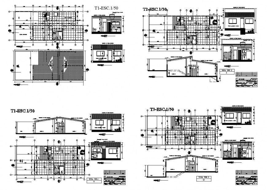 Housing structure detail plan and section layout CAD block autocad file