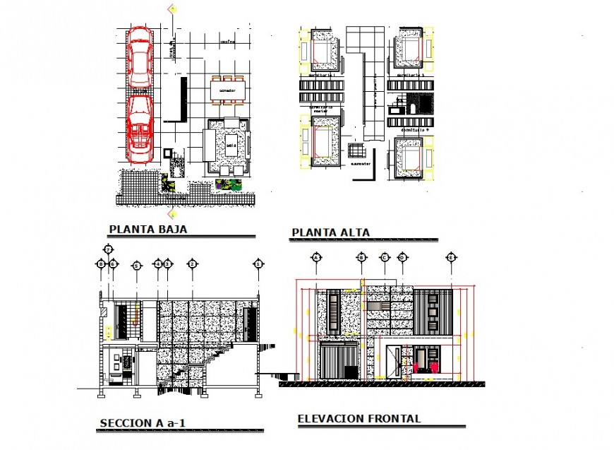 Housing structure plan, elevation and section 2d view CAD construction block layout autocad file