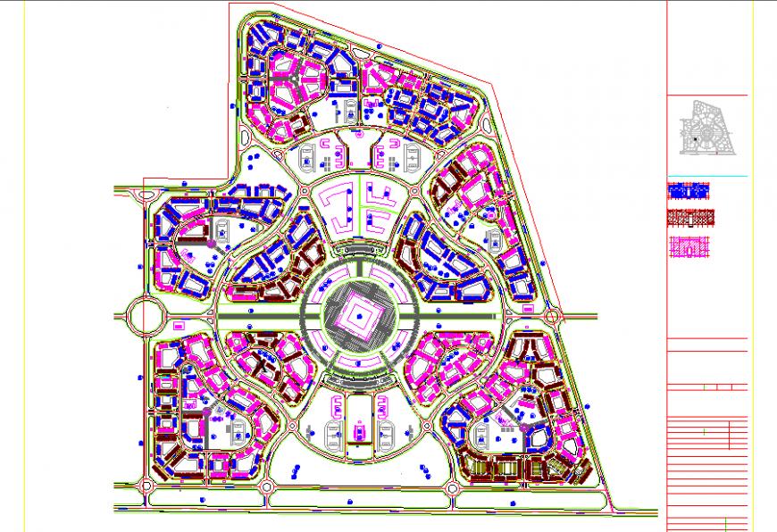 Housing township master plan in dwg file.
