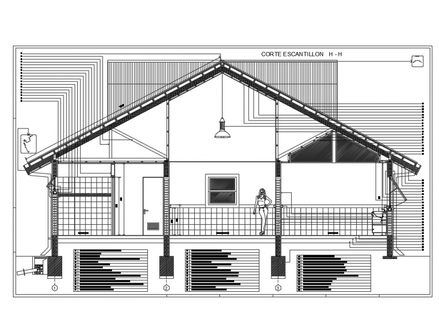 Housing two levels constructive section details dwg file