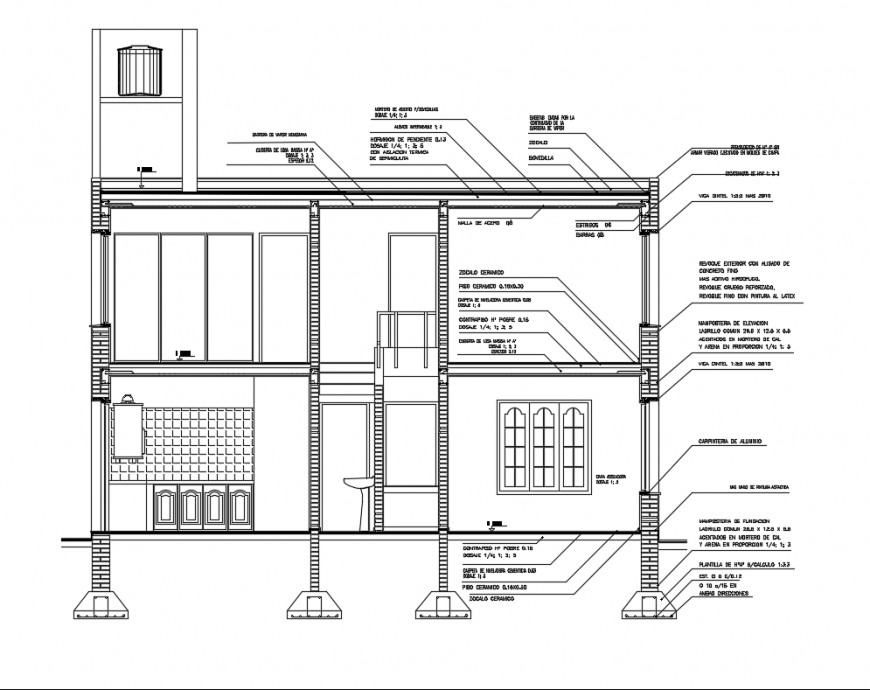Housing two levels facade section-constructive details with terrace dwg file