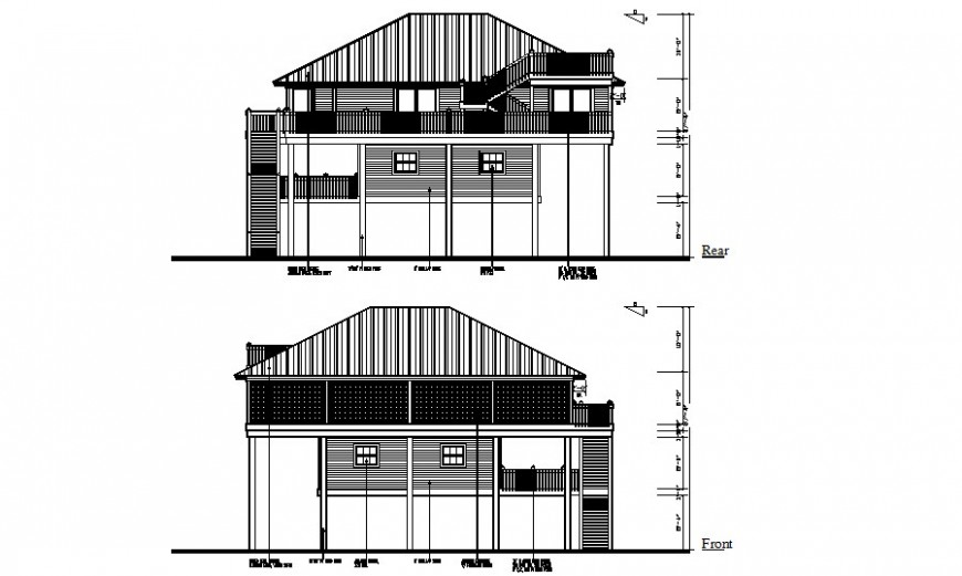 Housing units 2d story building elevation dwg file