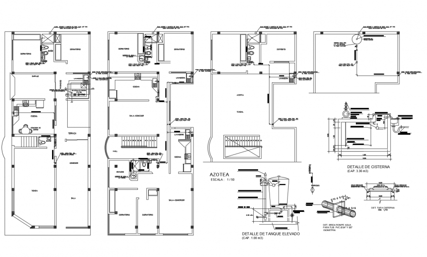 Housing units detail 2d view working plan in dwg format