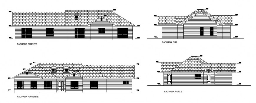 Housing units detail elevation 2d drawing in autocad