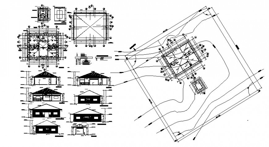 Housing units drawing details elevation plan and section dwg file