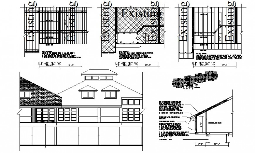 Housing units drawing elevation and roofing details autocad file