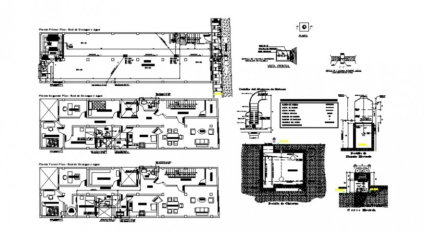 Housing units drawings detail 2d view work plan autocad file