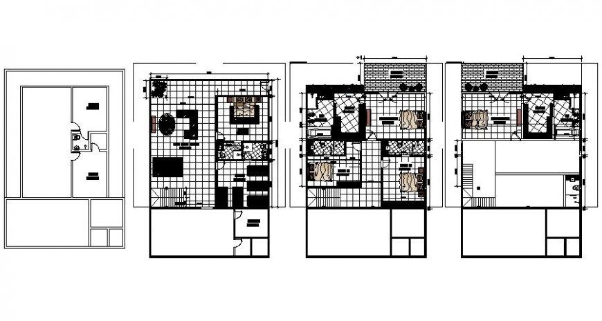 Housing units drawings details 2d view floor plan autocad softwrae file