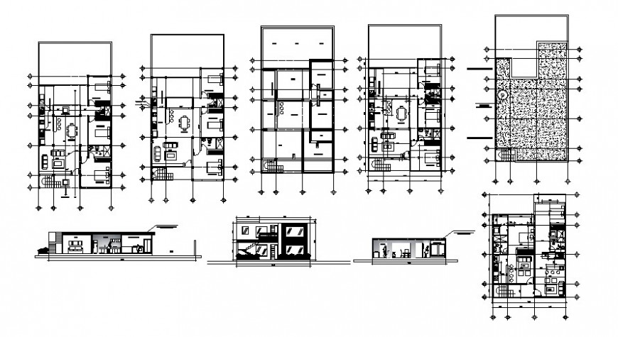 Housing units drawings details 2d view work plan elevation and section dwg autocad file