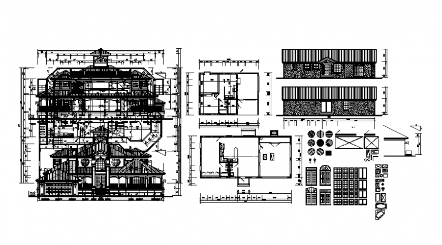 Housing units drawings plan and elevation autocad file