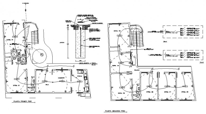 Housing units with electrical installation details in autocad