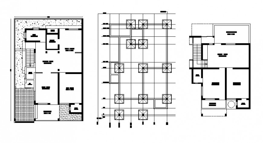 Housing units work plan 2d view with foundation plan autocad file