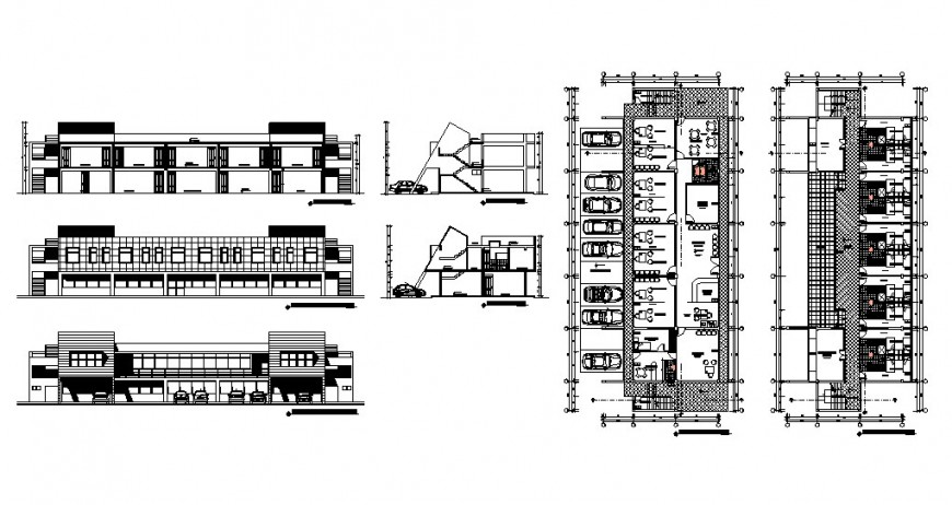 Huancay multi-story hotel building elevation, section and floor plan cad drawing details dwg file