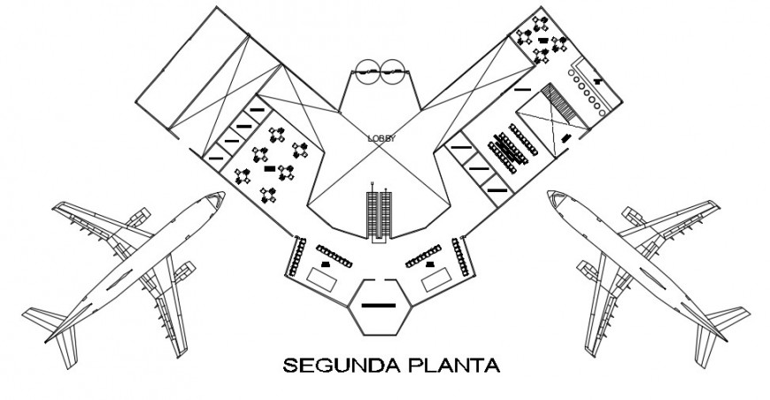 Huanuco airport second floor distribution plan cad drawing details dwg file