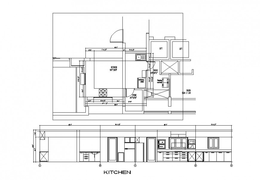 Huge kitchen section, plan, interior and furniture layout cad drawing details dwg file