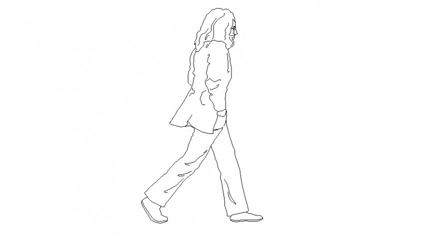 Human figure line detail drawing in AutoCAD file.