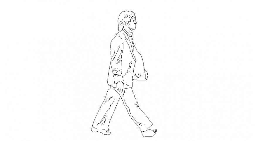 Human figure line drawing in AutoCAD file.