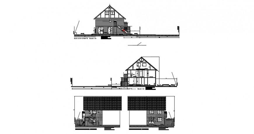 Hut construction building exterior view detail dwg file