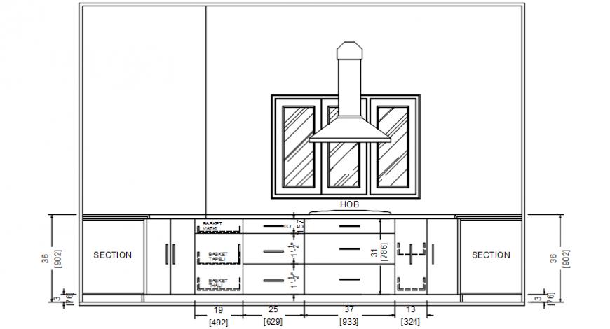 Hutch of kitchen elevation model