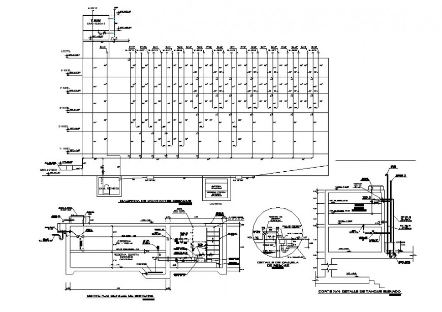 Hydraulic system and plumbing structure details of multi-story building's sanitary dwg file