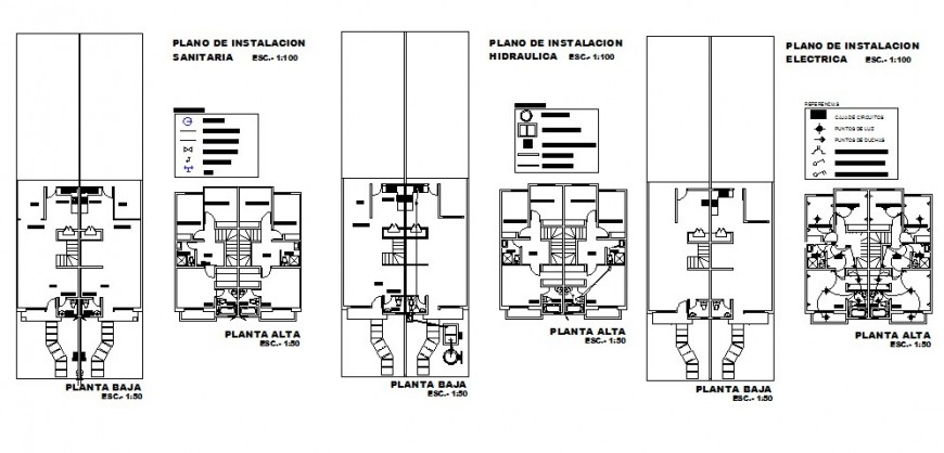 Hydraulic water and sanitary installation details of house dwg file