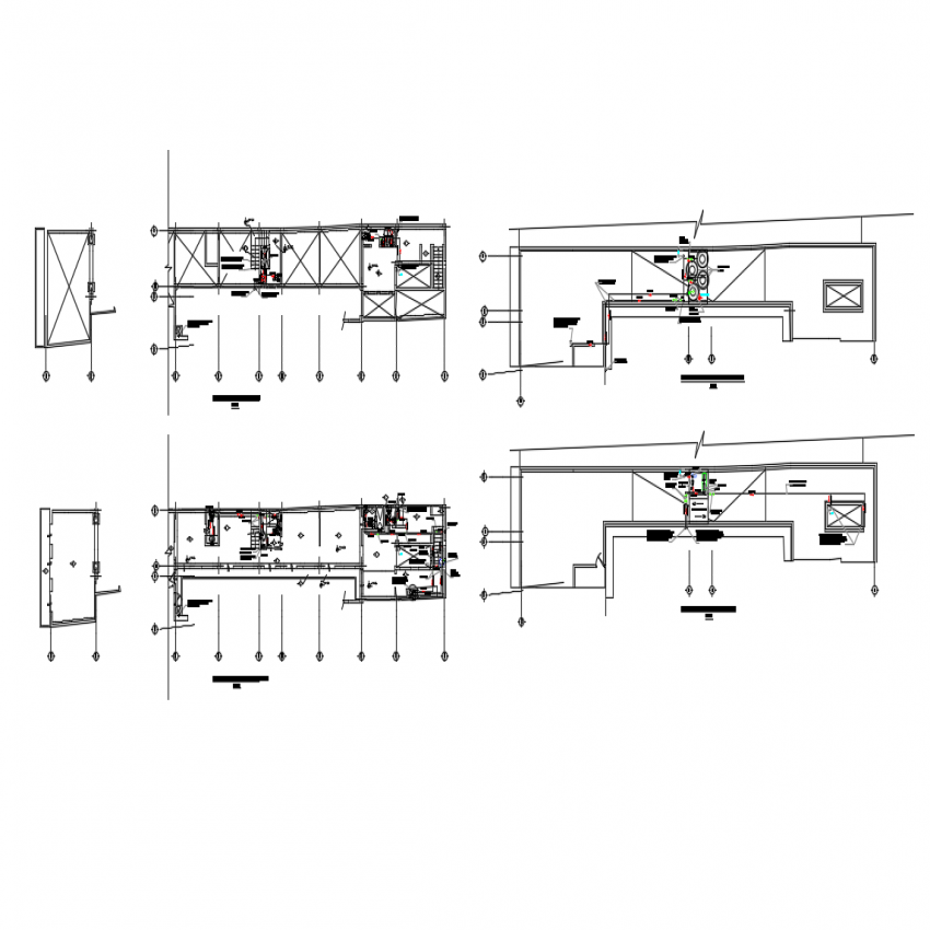 Hydro sanitary installation details of four floors of house dwg file