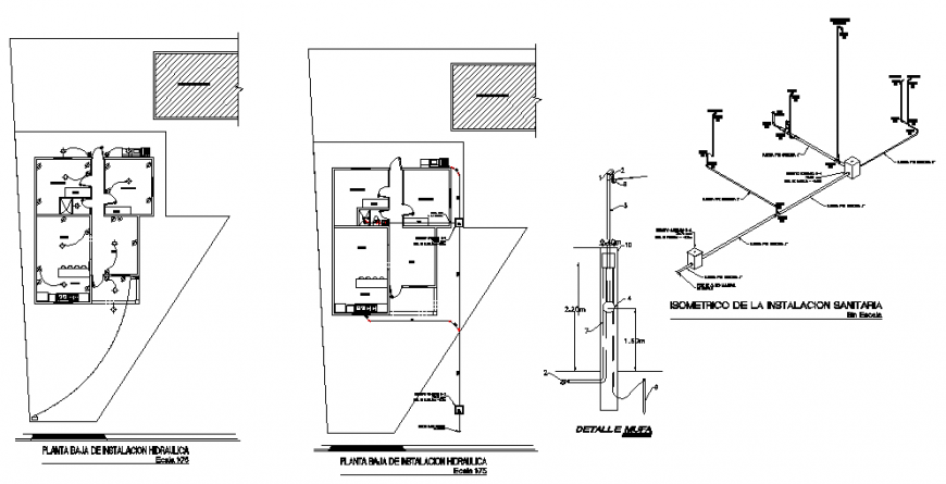 Hydrolic sanitary installation and electrical layout plan details of house dwg file