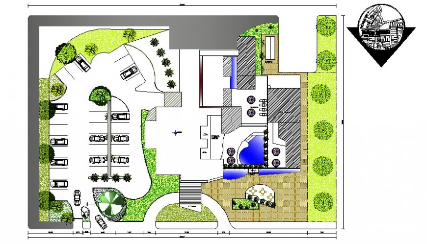 Implantation hotel 2d view plan drawing in autocad software