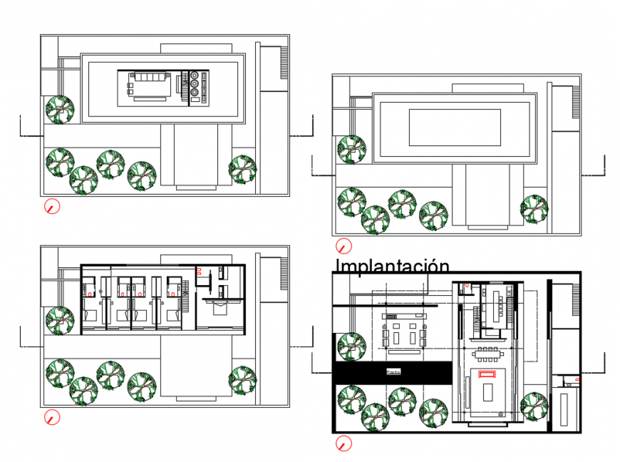 Implication and distribution plan details of one family house dwg file