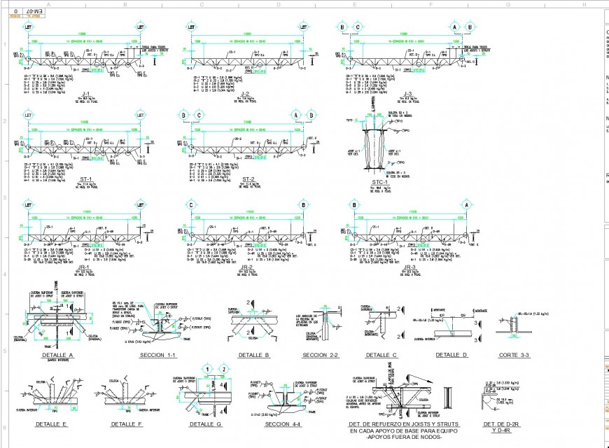 In each base support for support equipment outside nodes autocad file