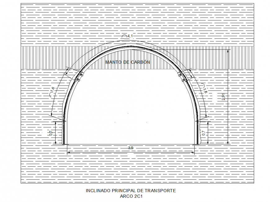 Inclined main transport elevation detail dwg file