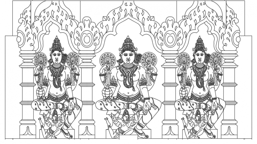 Indian temple architecture drawing cad file