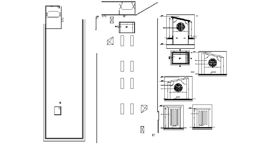 Indoor doors and ventilated window installation drawing details dwg file