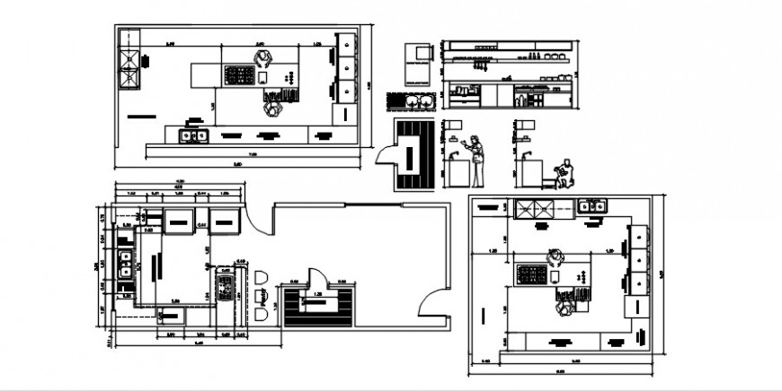 Industrial big kitchen section and plan details with furniture drawing details dwg file