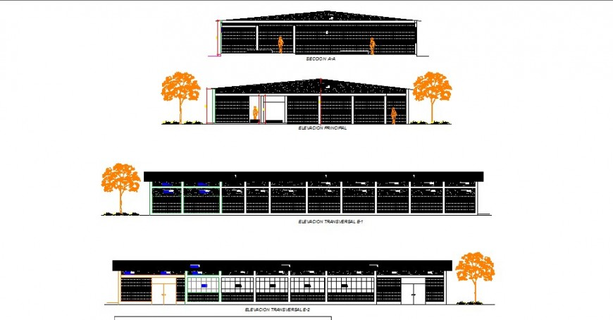 Industrial building all sided elevation cad drawing details dwg file