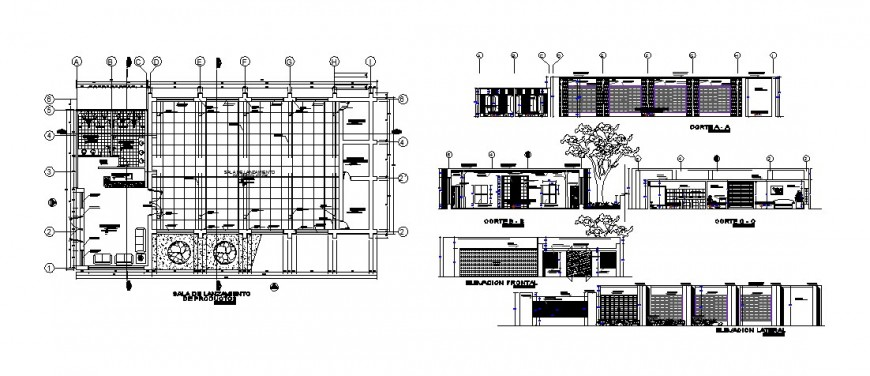 Industrial building elevation, section and production plant cad drawing details dwg file