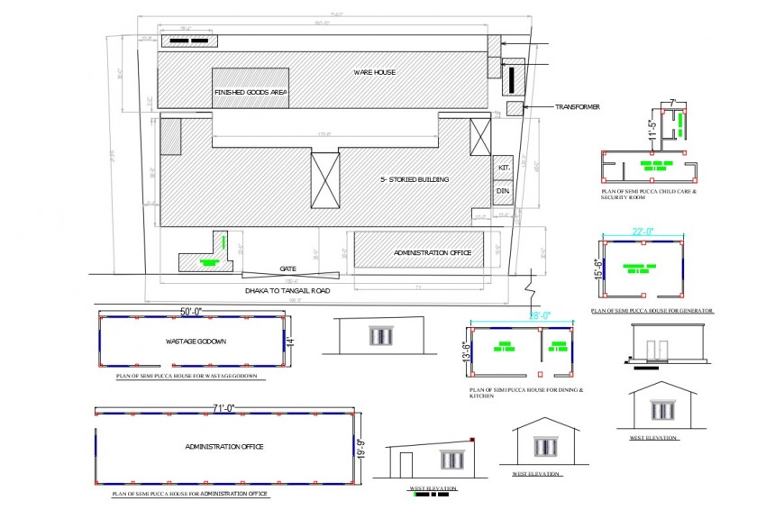 Industrial building plan in autocad