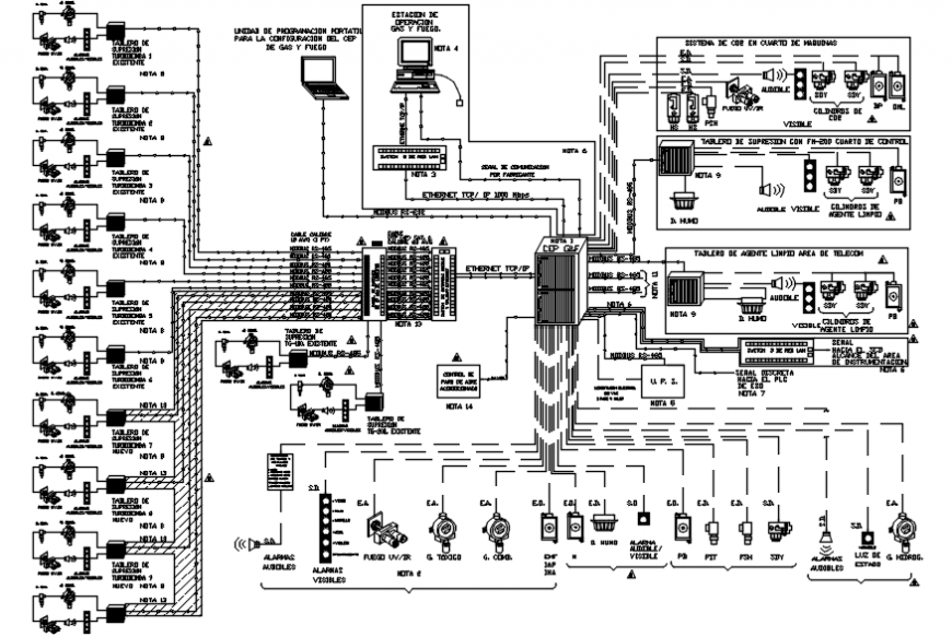 Industrial fire gas installation and diagram cad drawing details dwg file