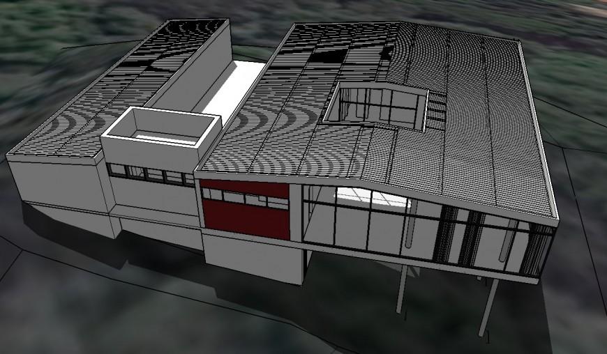 Industrial house 3d drawing in skp file
